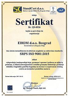ISO SRPS ISO 9001:2015 sertifikat